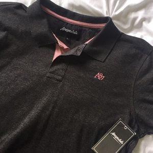 Aeropostale Charcoal and Pink Polo L NWT   F9